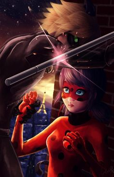Chat shielding his lady (by JeiGoWAY, Miraculous Ladybug, Chat Noir)