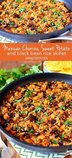Mexican Chorizo, Sweet Potato and Black Bean Rice Skillet is a simple weeknight supper with yummy Mexican flair. This might be good with soy chorizo Pork Recipes, Mexican Food Recipes, Vegetarian Recipes, Dinner Recipes, Cooking Recipes, Healthy Recipes, Ethnic Recipes, Recipes With Chorizo, Mexican Entrees