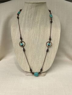 Turquoise and Copper Long Station Necklace