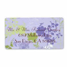 Purple & Green Floral Wedding Return Labels