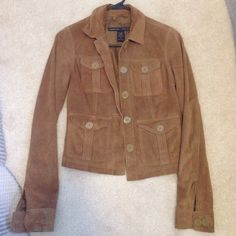 100% real suede jacket A&F jacket worn once, shell is genuine leather, lining is polyester Abercrombie & Fitch Jackets & Coats