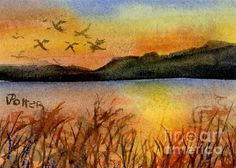 The Flock at Sunset  aceo  watercolor