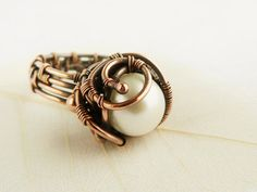 Wire Ring with Pearl  Cooper Ring  Wire jewelry  by UrsulaJewelry