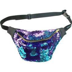 Teal and Purple fanny bag. mm shiney