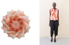 IsseyMiyake's Reality Lab - creates unique 3D geometric shapes that can be folded into 2D forms, which are then heat pressed to become folded shirts, skirts, pants and one-piece dresses.
