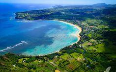 Isla Kauai, Hawaii, Hanalei Bay, playa, costa del Mar Fondos de pantalla - 2560x1600