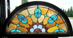 Beautiful Antique American Stained Glass Window Arched Top Architectural Salvage | eBay $675