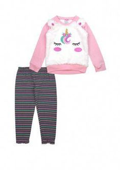 Featuring striped leggings, this set by Nannette is comes with a cute and fuzzy unicorn top. Toddler Leggings, Girls In Leggings, Tops For Leggings, Girls Jeans, Toddler Girl Style, Toddler Fashion, Toddler Outfits, Toddler Girls, Baby Girls