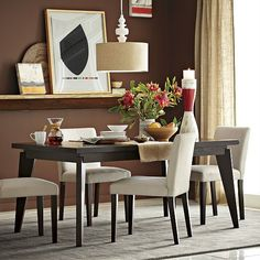 Warm inviting dining space. Angled-Leg Expandable Table | west elm