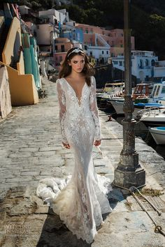 julie vino fall 2017 bridal long sleeves deep plunging v neck full embellishment gorgeous sexy elegant sheath wedding dress low back chapel train (1206) mv #bridal #wedding #weddingdress #weddinggown #bridalgown #dreamgown #dreamdress #engaged #inspiration #bridalinspiration #weddinginspiration #weddingdresses