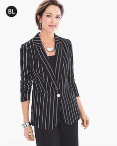 Chico's Women's Black Label Pinstripe Blazer, Black/Optic White, Size: 1 (8/10 M)