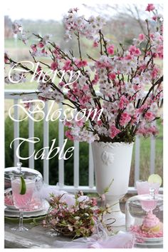 Pretty cherry blossom table setting Cherry Blossom Theme, Cherry Blossoms, White Painted Dressers, Autumn Table, Centerpieces, Table Decorations, Joy To The World, Daffodils, Holiday Parties