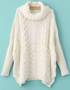 Langarm-Pullover mit Rollkragen und Zopfmuster, weiß-Sheinside
