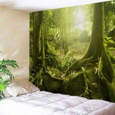 Sunlight Forest Polyester Throw Wall Art Tapestry