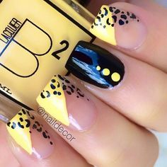 yellow & black leopard nails Instagram photo by @Manal Shaikh via ink361.com