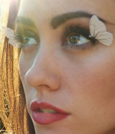 Would love to do this somewhere, somehow.... Renaissance Faire Costume - Butterfly Wings Feather Eye Lashes