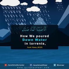 How We poured down water in torrents, (Quran Surah 'Abasa, Ayah 80:25)   http://www.quranschool.com/