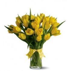 Florero de 20 de Tulipanes Amarillos