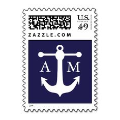 Nautical Monogram Postage Stamp Postage Stamps