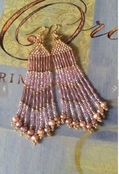 Seed Bead Long Pink and Gold Freshwater Pearl Fringe Earrings