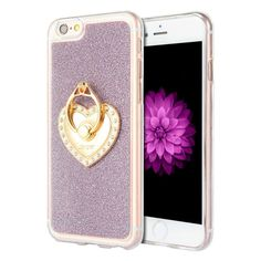 iPhone 6 / 6S Luxmo Golden Diamond Ring TPU Case - Purple
