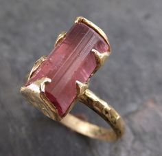 Raw Pink Tourmaline Rose Gold Ring Rough Uncut Pink Gemstone Promise engagement wedding recycled 14k Size stacking