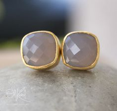 Gold Grey Chalcedony Stud Earrings - Cushion Cut - Gold Plated