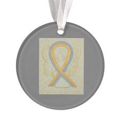 Gray and Gold Awareness Ribbon Angel Ornaments