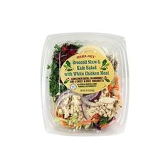 Trader Joe's Broccoli Slaw and Kale Salad with White Chicken Meat... ❤ liked on Polyvore featuring food