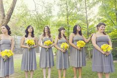 Maybe moe grey-y lavender dress?? A Pretty Modern-Rustic Yellow and Gray Wedding at The Grove