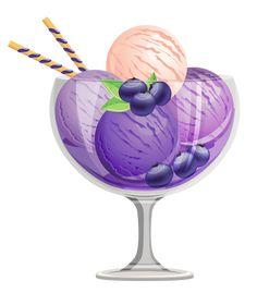 Transparent Blueberry Ice Cream Sundae Clipart