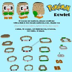 3D Hama Beads Perler Artkal Pokemon Sun Moon Rowlet free pattern