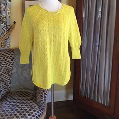 """Chartreuse cotton sweater Beautiful chartreuse knit sweater. Has side slits and crew neck. All cotton!!  3/4 banded sleeve in EUC  raglan sleeve. 26"""" from shoulder to hem 23"""" from arm pit to arm pit. Great sweater. Sparrow for anthropologie Anthropologie Sweaters Crew & Scoop Necks"""