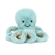 We are happy to introduce Bobbie Octopus by Jellycat. The Jellycat Bobbie is a blue, cuddly sea life creature who your kids can snuggle for endless hours! Octopus Stuffed Animal, Baby Octopus, Baby Stuffed Animals, Baby Animals, Stuffed Toys, Pet Toys, Baby Toys, Animal Sewing Patterns, Jellycat