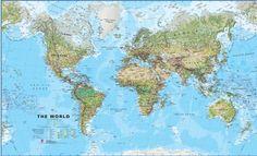 Wereldkaart (code 69PH) natuurkundig, geplastificeerd met houten stokken, 136 x 82 cm | Maps International
