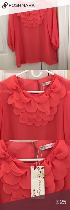 Ladies coral boutique blouse size small NEW! Ladies sheer coral boutique blouse in a size small. Beautiful detail at neckline. 3/4 sleeve. New with tags. Tops Blouses