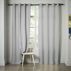 for Living Room? Linen Cotton Grommet Curtain - Platinum #westelm