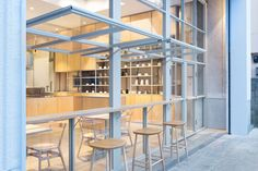 Electric Factory Turned Blue Bottle Coffee Shop in Tokyo Glass facade Cafe Shop Design, Scandinavian Interior Design, Restaurant Interior Design, Bathroom Interior Design, Modern Restaurant, Interior Ideas, Cafe Window, Blue Cafe, Blue Bottle Coffee