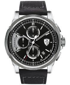 Scuderia Ferrari Men's Chronograph Formula Italia S Black Leather Strap Watch 46mm 830275 - Men's Watches - Jewelry & Watches - Macy's