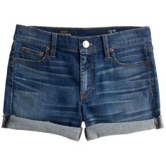 J.Crew Denim Short ($105) ❤ liked on Polyvore featuring shorts, bottoms, pants, denim, cuffed denim shorts, cuffed jean shorts, short shorts, jean shorts and denim shorts