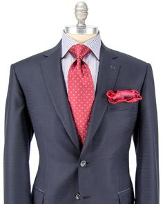 """Brioni Navy Graphic Check Suit 2 button jacket Notch lapel Flap pockets Double vent Fully lined Black melton Flat front pant  Zip fly Hook and bar close Double welt button back pockets 11.5"""" rise 8.5"""" hem opening   100% wool Super 150's Made in Italy"""