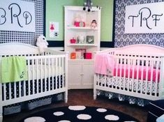 Twin's Nursery Boy and Girl - contemporary - kids - kansas city - Surface to Surface Interior Design/Construction