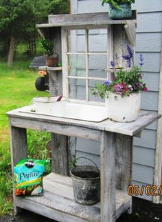 shabby chic potting table | Potting bench