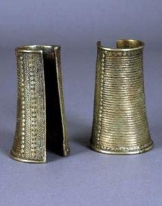 West Africa   Leg cuffs; brass alloy.  Ghana / Burkina Faso   Est. 150 / 250€ ~ (Sept '11)