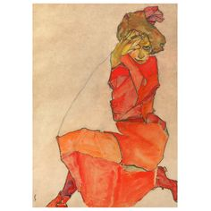 Kunstdruck Egon Schiele Kniende in orange-rotem Kleid - From Austria