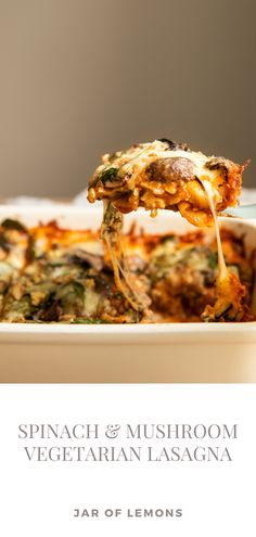 This Spinach & Mushroom Vegetarian Lasagna is the BEST weeknight dinner recipe! Easy to make, this meal can even be prepped in advance and baked later. If you've been on the search for a flavorful and healthy vegetarian dinner that the entire family will love, then this recipe recipe is for you!