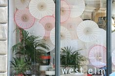 parasol window display West Elm NY, Spring 2012