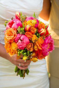 Pink and orange wedding bouquet Bright Wedding Flowers, Bright Flowers, Floral Wedding, Wedding Colors, Dress Wedding, Mauve Wedding, Bouquet Wedding, Carnation Wedding, Lily Wedding