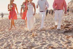 coral + white for beach wedding
