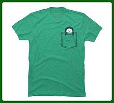 Pocket Penguin Men's X-Large Lime Green Heather Graphic T Shirt - Animal shirts (*Amazon Partner-Link)